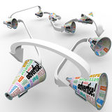 Advertise Bullhorn Megaphones Connected Spreading Marketing Mess. Many bullhorns or megaphones with the word Advertise and other terms such as attention, pitch Royalty Free Stock Photo