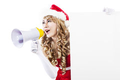 Advertise christmas sale with speaker and sign Stock Image