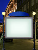 Advertise citylight with clear ad place. On night street stock image