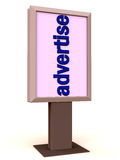 Advertise on a display. A white backlit board or display showing advertise word in vertical, publicity and advertisement concept Royalty Free Stock Images