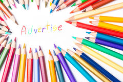 Advertise drawing by colour pencils.  Royalty Free Stock Photography