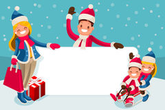 Advertise Family Winter Sale Vector. Advertise with family for winter sale isometric people cartoon characters vector illustration Stock Images