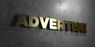 Advertise - Gold sign mounted on glossy marble wall  - 3D rendered royalty free stock illustration. This image can be used for an online website banner ad or a Royalty Free Stock Images
