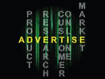 Advertise. Graphic with text advertise in crossword style on black background with green vertical digital line blurs royalty free stock image