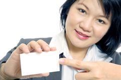 Businesswoman Pointing At Blank Card stock photography