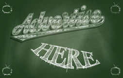 Advertise Here. Chalkboard with text - Advertise Here - concept for strategic thinking and successful ideas Stock Image