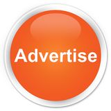 Advertise premium orange round button. Advertise isolated on premium orange round button abstract illustration Royalty Free Stock Image
