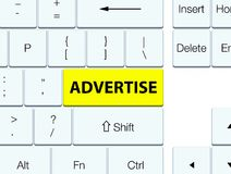 Advertise yellow keyboard button. Advertise isolated on yellow keyboard button abstract illustration Royalty Free Stock Photo