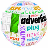 Advertise Marketing Word Globe Planet Business Exposure Growth. Advertise and related words on a globe or world to illustrate business or company growth in Stock Image