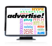 Advertise Marketing Words on HDTV Television. A high definition television with the word advertise and many other words associated with advertising such as word Royalty Free Stock Photography