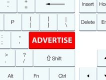 Advertise red keyboard button. Advertise  on red keyboard button abstract illustration Royalty Free Stock Image