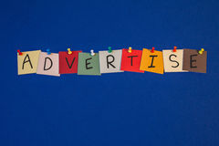 ADVERTISE - sign or poster for business, marketing Stock Photography