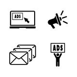 Advertise. Simple Related Vector Icons. Set for Video, Mobile Apps, Web Sites, Print Projects and Your Design. Black Flat Illustration on White Background Stock Photography