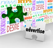 Advertise Word Puzzle Piece Wall Marketing Selling Products Serv. Advertise word on puzzle piece in front of hole in wall to illustrate the value or importance Stock Images