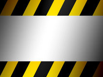 Advertisement. Yellow and black border over chrome background Royalty Free Stock Photo