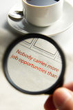 Advertisement. Magnifier zoom in on job opportunities advertisement royalty free stock photo