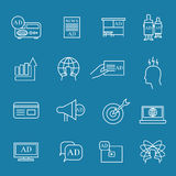 Advertisement and advertise linear icons marketing vector outline signs Royalty Free Stock Images