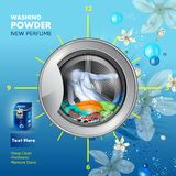 Advertisement banner of stain and dirt remover powder laundry detergent for clean and fresh cloth. Easy to edit vector illustration of advertisement banner of vector illustration