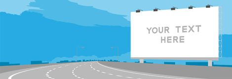 Advertisement Big Billboard Signage Highway or motorway bend in daytime illustration. Isolated on blue sky background, with copy space Royalty Free Stock Image