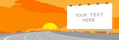 Advertisement Big Billboard Signage Highway or motorway bend in surise, sunset time illustration. On orange sky background, with copy space stock illustration