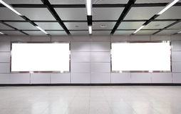 Advertisement blank. In a modern building Royalty Free Stock Photo