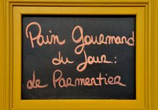Advertisement board at a French bakery Royalty Free Stock Images