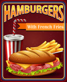 Advertisement board with hamburgers and fries. Illustration stock illustration