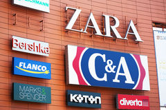 Advertisement brands on mall. Wall, Zara C&A, Bershka Royalty Free Stock Photography
