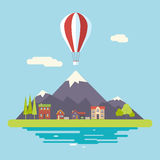 Advertisement Commercial Promotion House Village. Mountains Sky Modern Flat Design Icon Summer Landscape Background Template Vector Illustration Royalty Free Stock Image