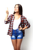 Advertisement concept - attractive young woman in casual clothes Stock Images