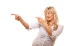 Advertisement concept - woman pointing with finger Stock Images