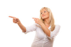 Advertisement concept - woman pointing with finger Royalty Free Stock Images