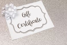 Advertisement for Gift Certificates. An Advertisement for Gift Certificates stock images