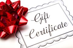 Advertisement for Gift Certificates. On a White Background stock photography