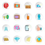 Advertisement icons, cartoon style. Advertisement icons set. Cartoon illustration of 16 advertisement icons for web Vector Illustration