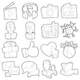 Advertisement icons set, outline cartoon style Stock Image