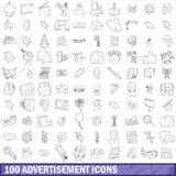 100 advertisement icons set, outline style. 100 advertisement icons set in outline style for any design vector illustration Royalty Free Stock Photos