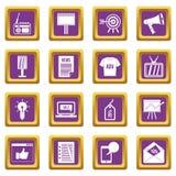 Advertisement icons set purple Stock Photo