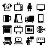 Advertisement Icons Set on White Background Stock Photos