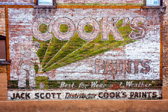 Advertisement on Old Brick Wall - Denver Royalty Free Stock Photography
