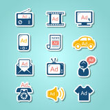 Advertisement paper cut icons Stock Image