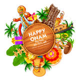 Advertisement and promotion background for Happy Onam festival of South India Kerala Royalty Free Stock Images
