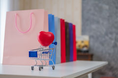 Advertisement and retail concept - many colorful shopping bags Stock Photography