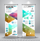 Advertisement roll up business flyer or brochure banner with vertical design Stock Photography