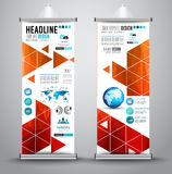 Advertisement roll up business flyer or brochure banner with vertical design. Royalty Free Stock Images