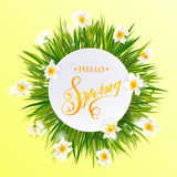Advertisement about the spring sale on defocused background with beautiful white flowers. Vector illustration. Stock Photos
