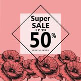 Advertisement about the summer sale on background with beautiful Poppy Flowers, Lettering, calligraphy. A seasonal discount. Vector illustration Royalty Free Stock Photos
