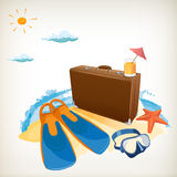 Advertisement on travel suitcase Stock Photography