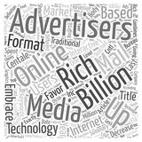 Advertisers Embrace Rich Media Format word cloud concept  background Royalty Free Stock Photography