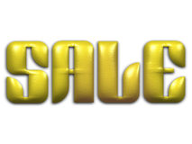 Advertising. The word Sale in yellow beveled text on background stock illustration